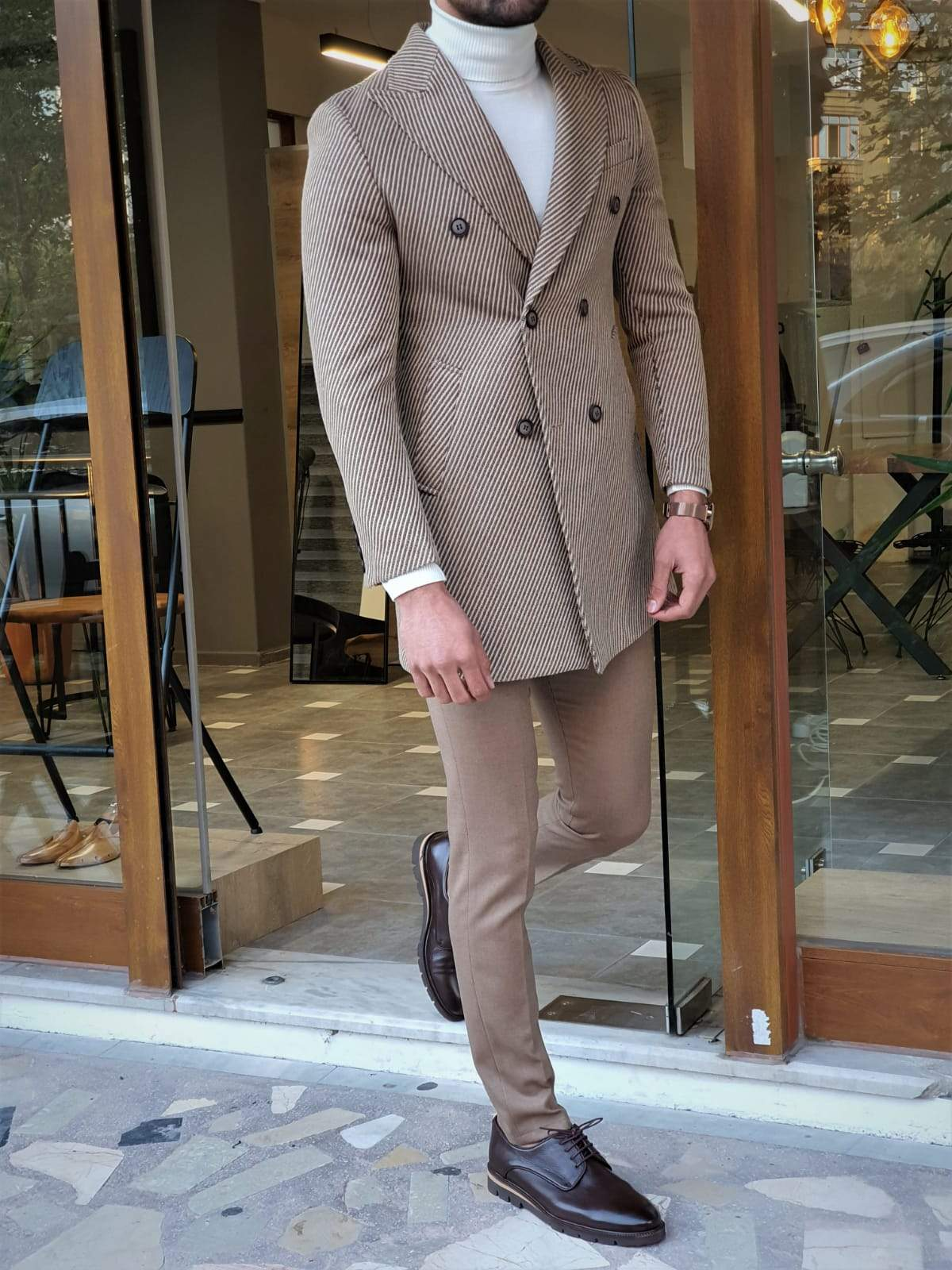 Paruri Camel Slim Fit Wool Long Coat
