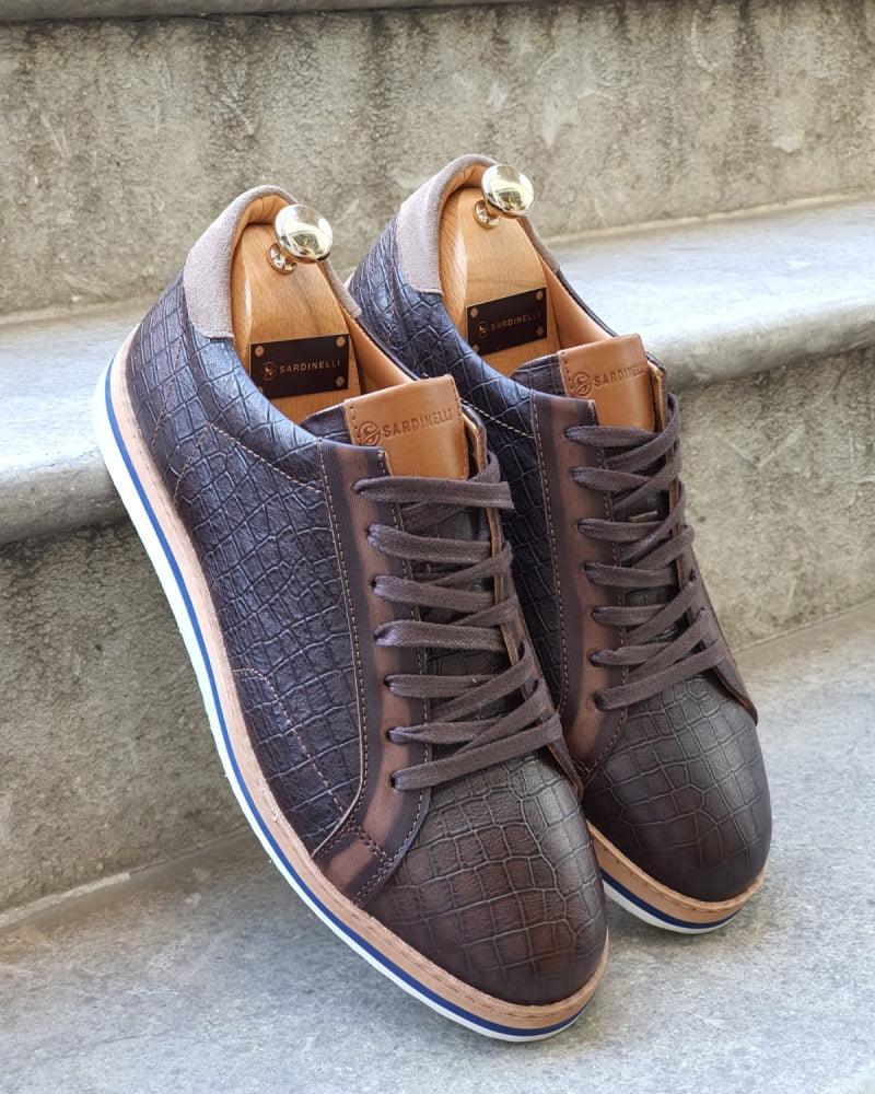 Rosario Brown Lace Up Sneakers