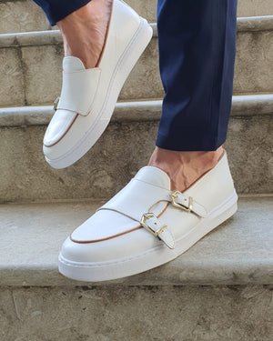 Detroit White Monk Strap Loafers