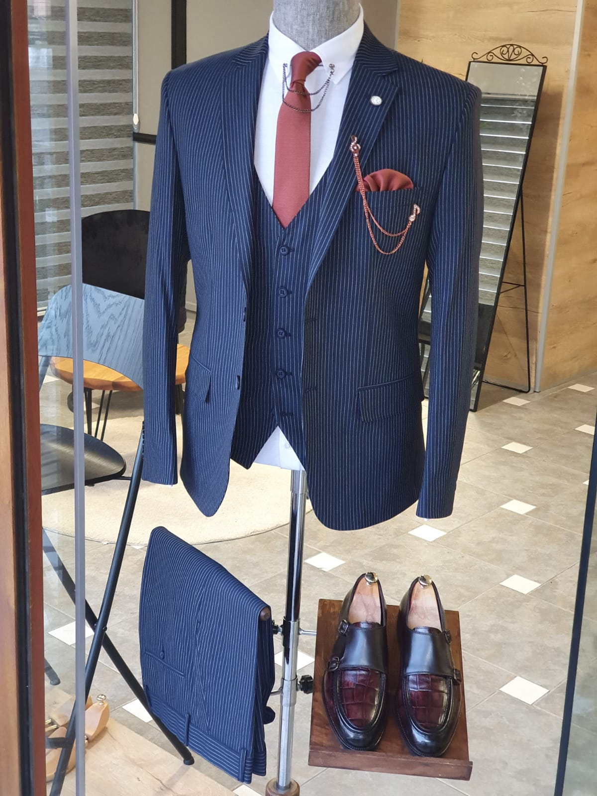 Argeli Navy Blue Slim Fit Pinstripe Suit