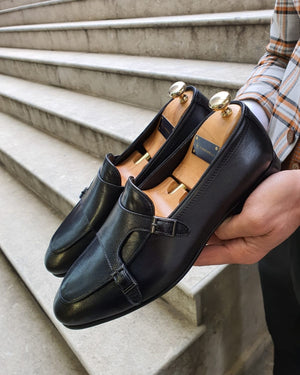 Bojo Fort Worth Black Double Monk Strap Loafer