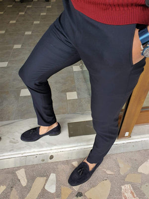 Paruri Navy Blue Slim Fit Pants