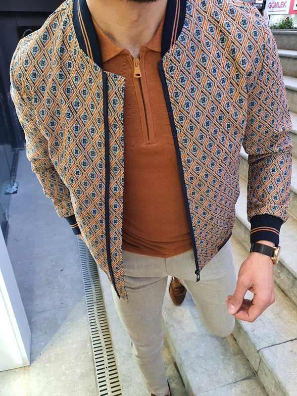 Lenard Beige Slim Fit Printed Coat