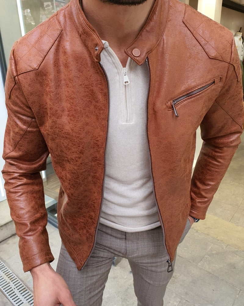Lerno Camel Slim Fit Suede Leather Zipper Coat