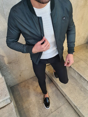 Lenard Khaki Slim Fit Patterned Coat