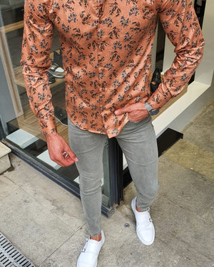 Milwaukee Brown Slim Fit Floral Cotton Shirt