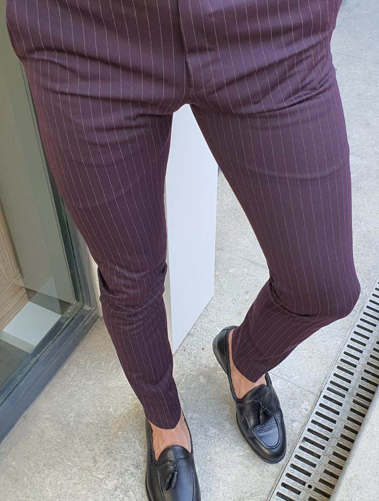Oakland Burgundy Slim Fit Pinstripe Pants