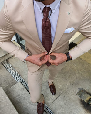 Bojo Ogden Beige Slim Fit Suit