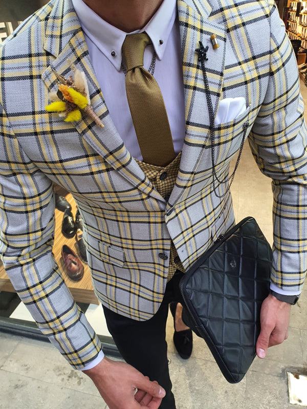 Bojo Bellingham Yellow Slim Fit Plaid Check Suit