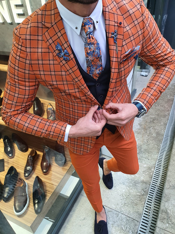 Bojo Ogden Orange Slim Fit Plaid Suit