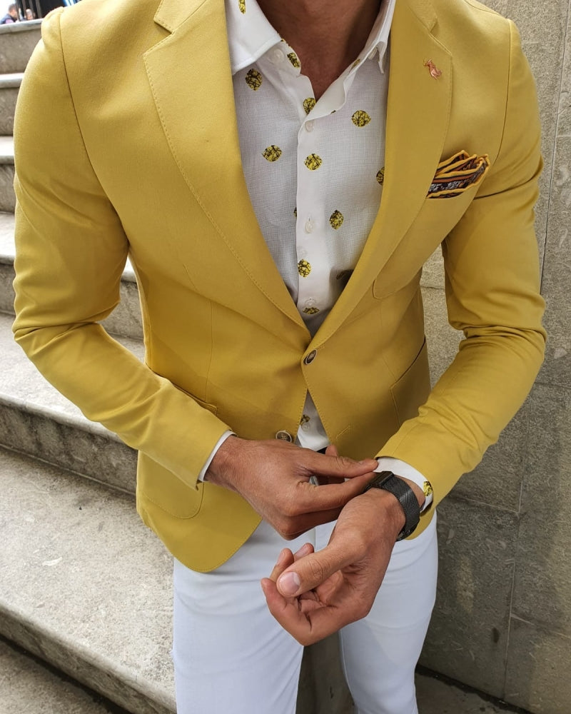 Bando Ogden Yellow Slim Fit Blazer