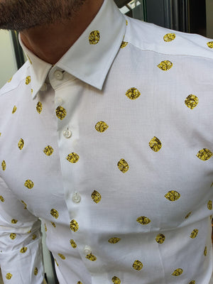 Toni Ogden Yellow Slim Fit Cotton Shirt