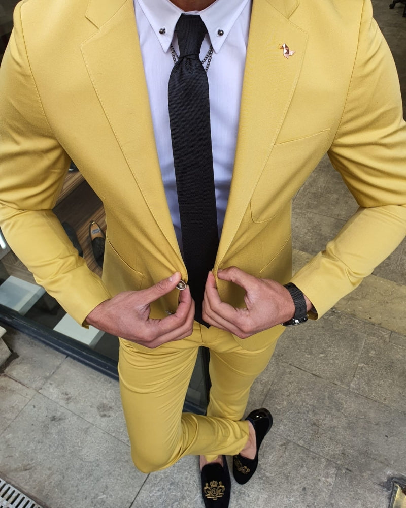Bojo Ogden Yellow Slim Fit Suit