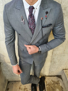 Bojoni Gray Slim Fit Double Breasted Suit