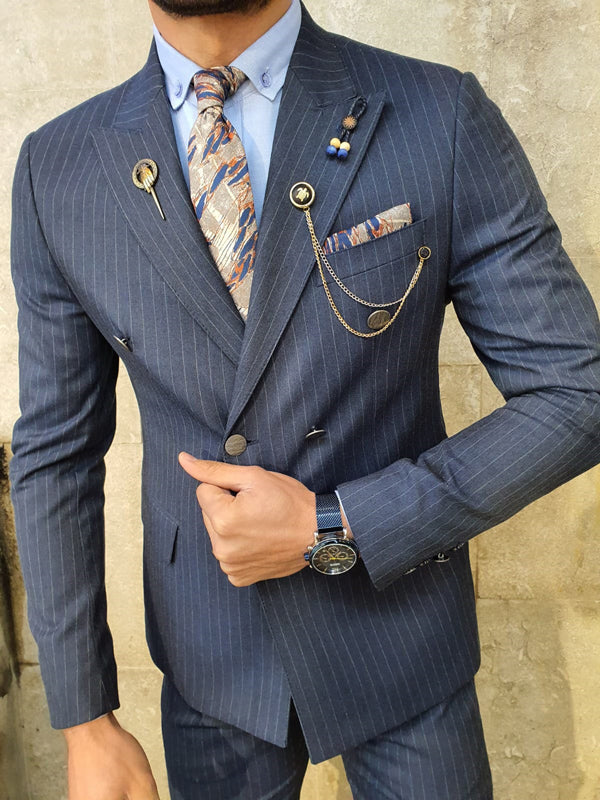 Bojoni Navy Blue Slim Fit Double Breasted Suit