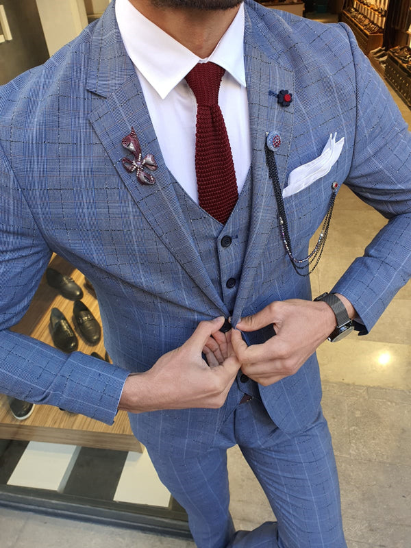 Grassano Blue Slim Fit Plaid Suit
