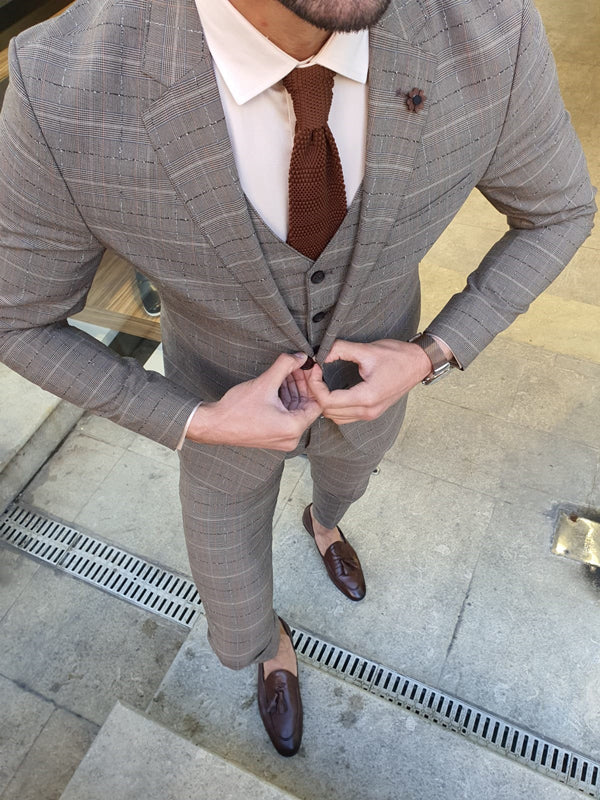 Grassano Camel Slim Fit Plaid Suit
