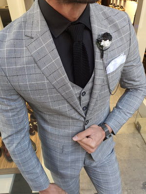 Grassano Gray Slim Fit Plaid Suit