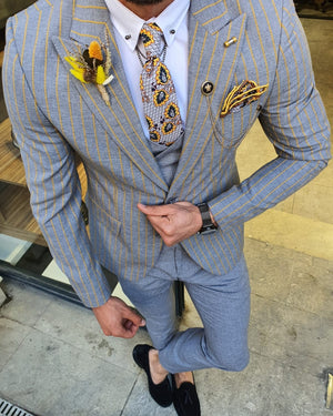 Bojo Pivas Yellow Slim Fit Pinstripe Suit
