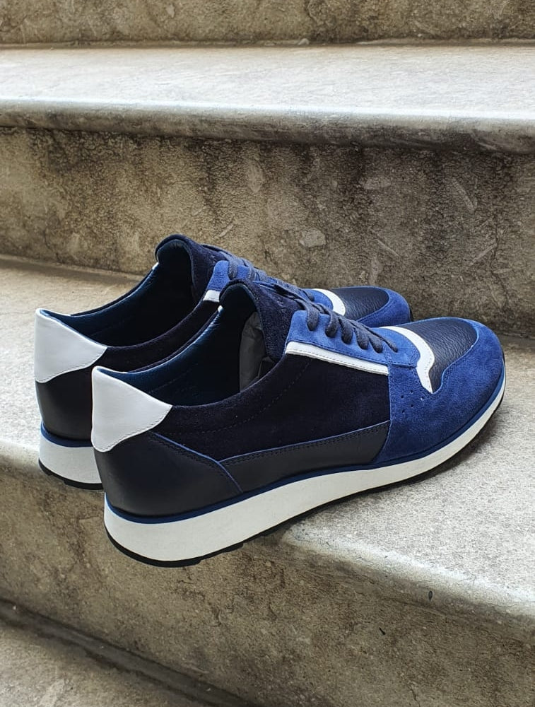 Pierre Navy Blue Mid-Top Sneakers