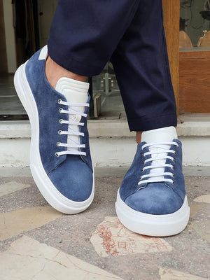 Vitale Blue Low-Top Suede Sneakers