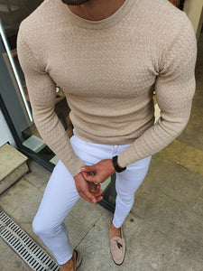 Natisk Rawlins Beige Slim Fit Crew Neck Sweater