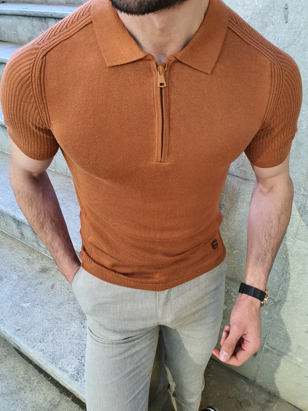 Natisk Brown Slim Fit Collar Neck Zipper Knitwear T-Shirt