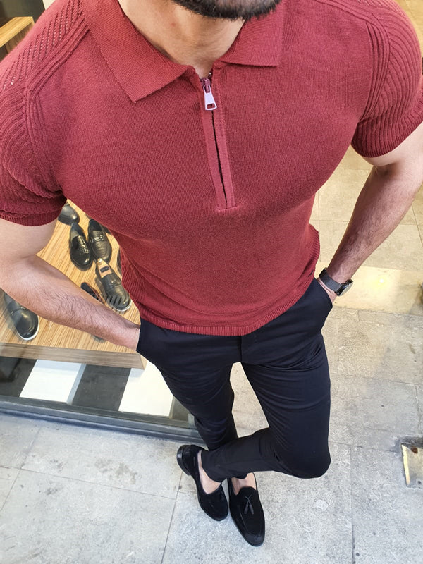 Rawlins Claret Red Slim Fit Collar Neck Zipper Knitwear T-Shirt