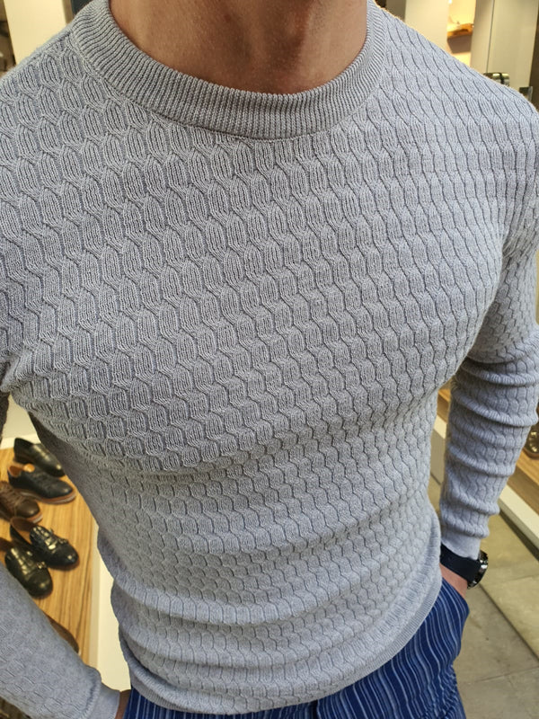 Natisk Rawlins Gray Slim Fit Crew Neck Sweater