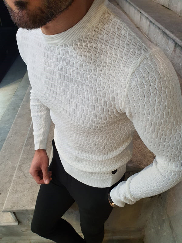 Natisk White Slim Fit Crew Neck Sweater