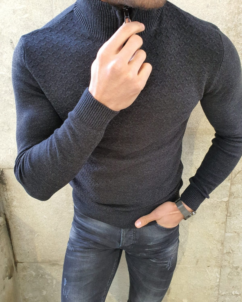 Natisk Black Slim Fit Zipper Mock Turtleneck Sweater