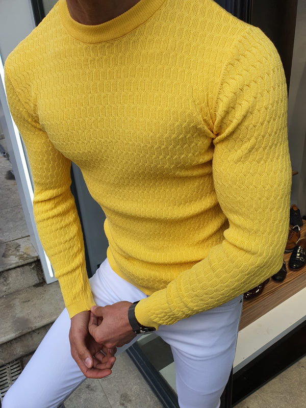 Natisk Rawlins Yellow Slim Fit Crew Neck Sweater