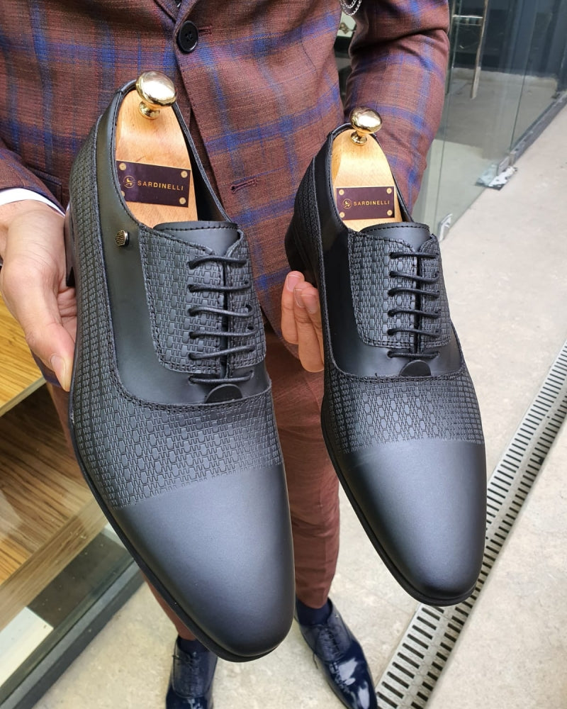 Lance Black Leather Laced Oxford