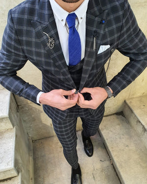 Bojoni Black Slim Fit Plaid Check Suit
