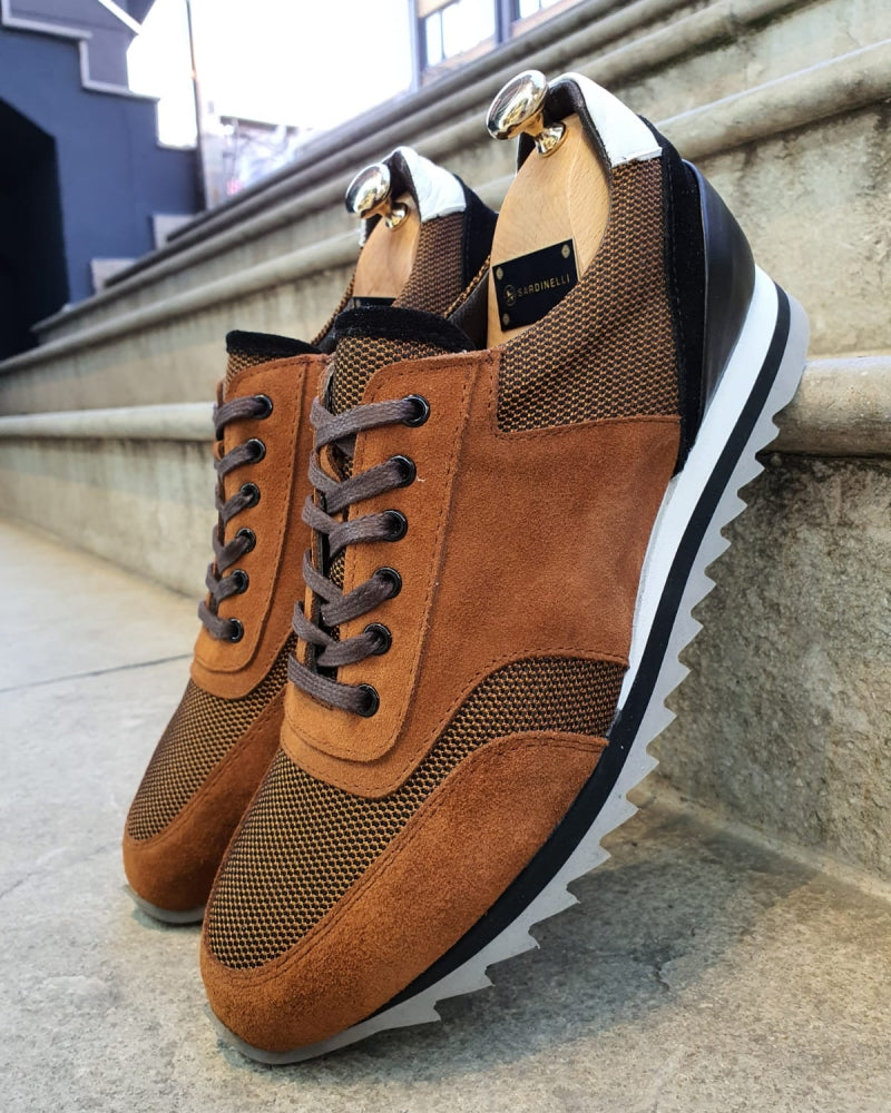 Lance Cinnamon Lace-Up Suede Sneakers