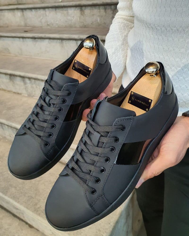 Sheridan Matte Black Lace-Up Sneakers
