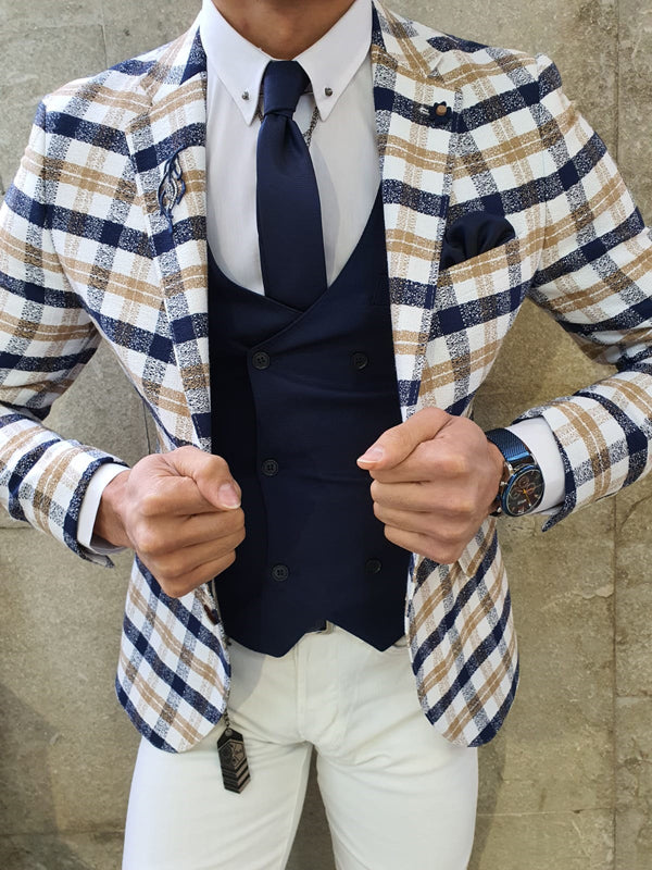 Verno Skyesville White Slim Fit Plaid Suit