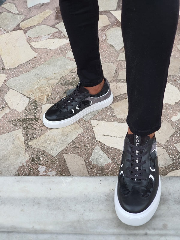 Salerno Black High-Top Lace Up Sneakers
