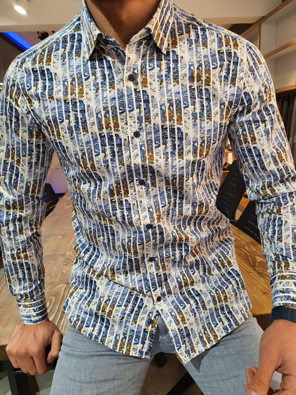 VillaNova Blue Slim Fit Striped Cotton Shirt