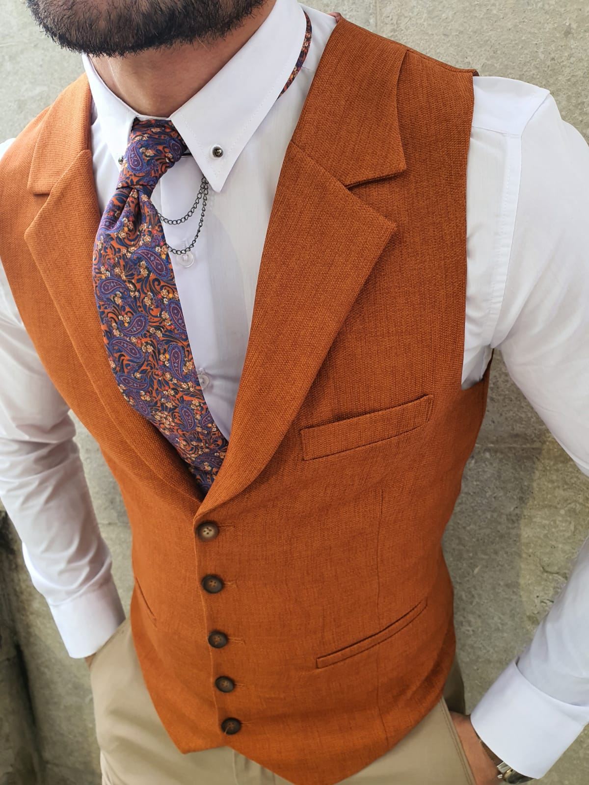 Shelton Slim Fit Cinnamon Vest