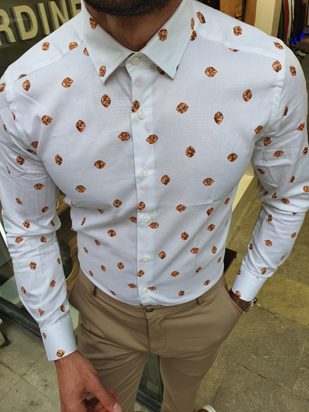 Toni Ogden Orange Slim Fit Cotton Shirt