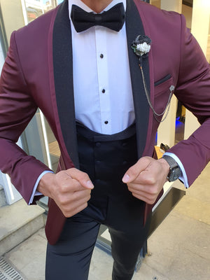 Grassano Burgundy Slim Fit Shawl Lapel Tuxedo