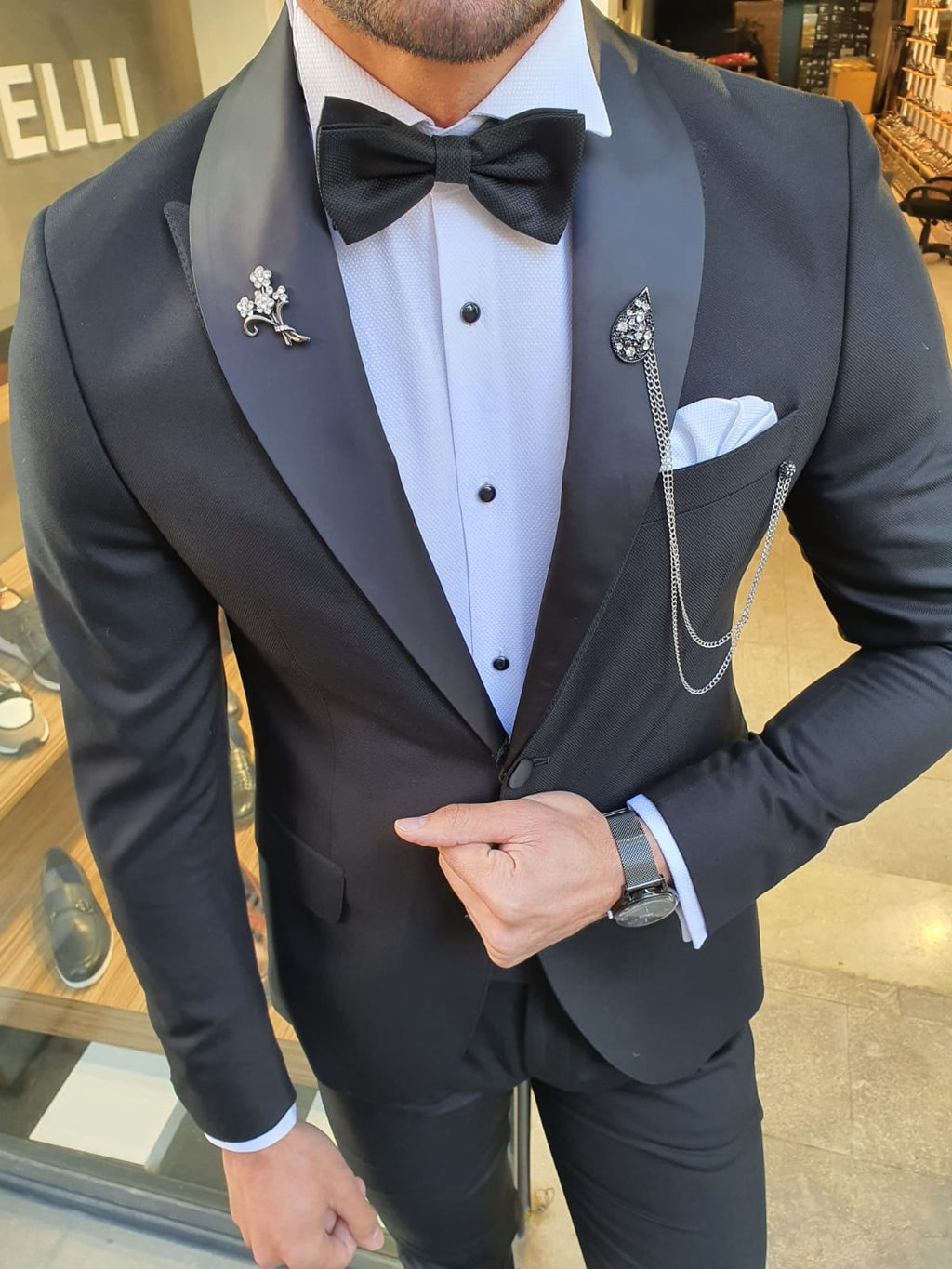 Grassano Black Slim Fit Shawl Lapel Tuxedo