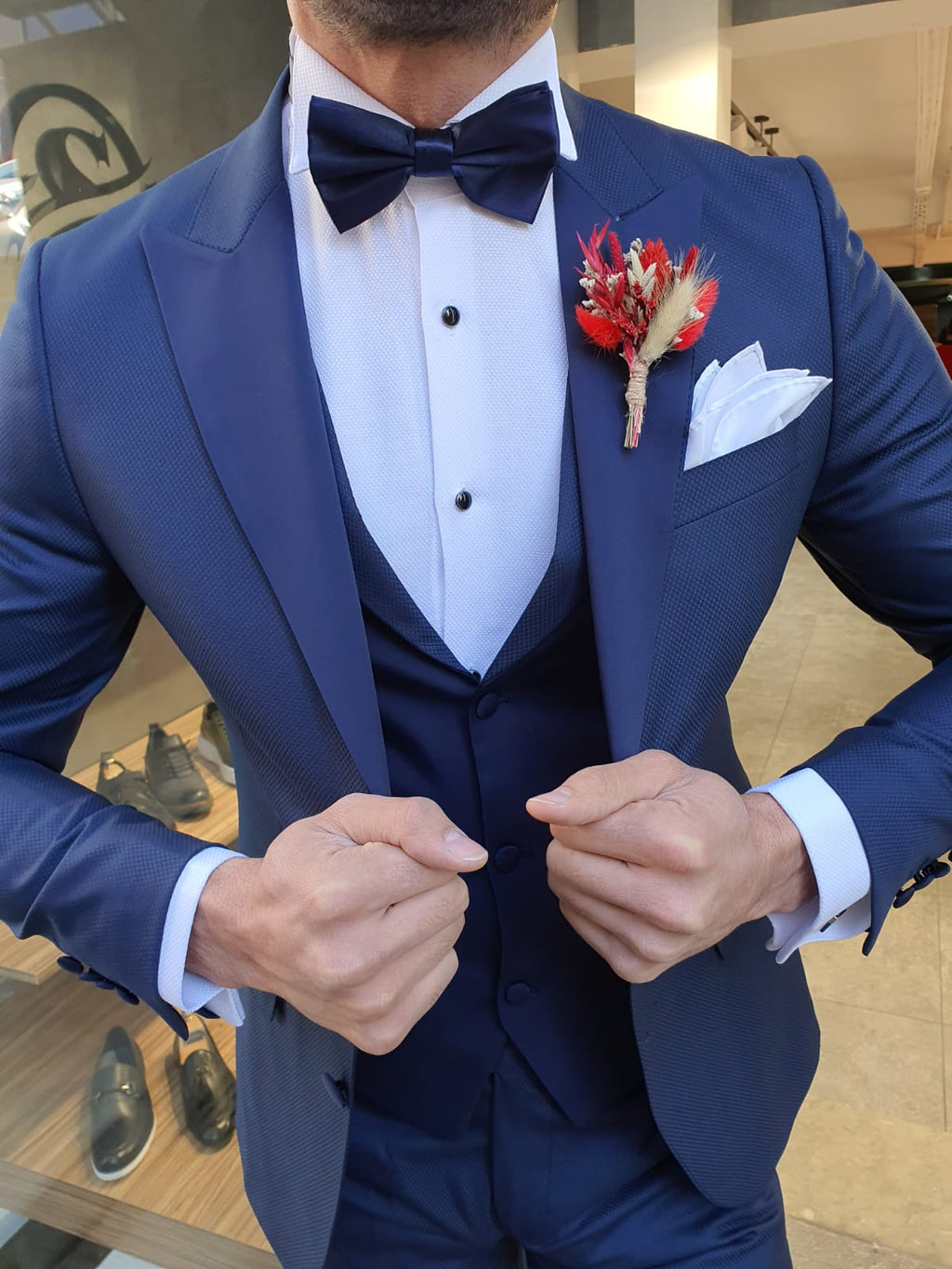 Grassano  Navy Blue Slim Fit Peak Lapel Tuxedo