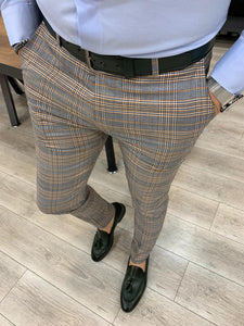 Ferrar Single Light Brown Plaid Pants