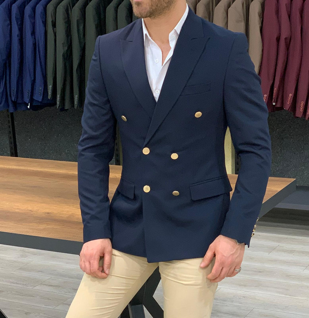 Bellingham Navy Slim Fit Double Breasted  Blazer