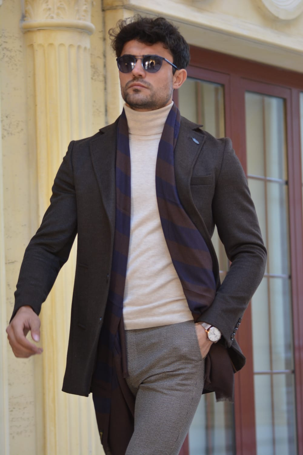 Saponi Slim-fit  Wool Coat Brown