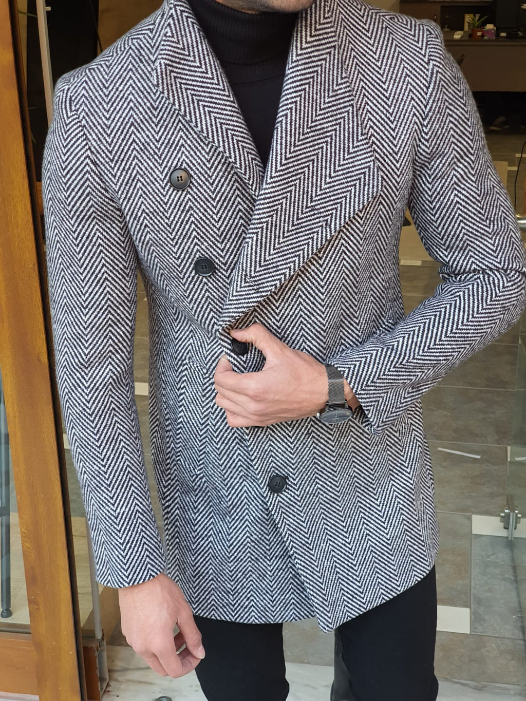 Saponi Slim-fit Collar Wool Coat Gray
