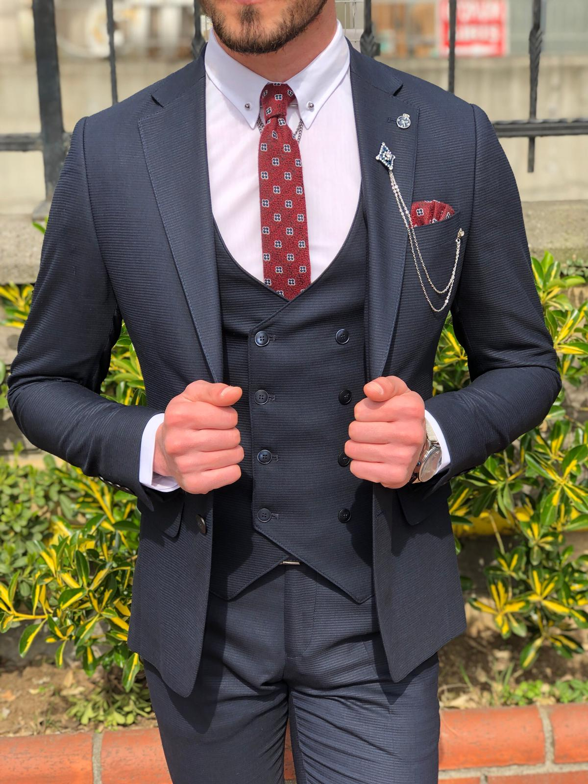 Mandos  Slim-Fit  Suit Vest Dark Blue