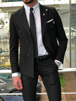 Bonis Slim-Fit Double Breasted Suit Black